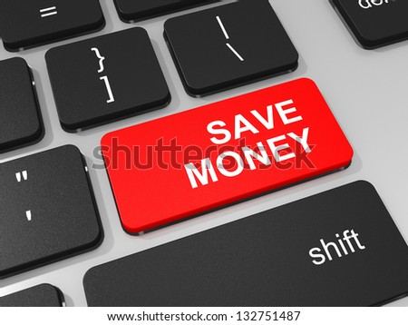 Save money key on keyboard of laptop computer. 3D illustration.