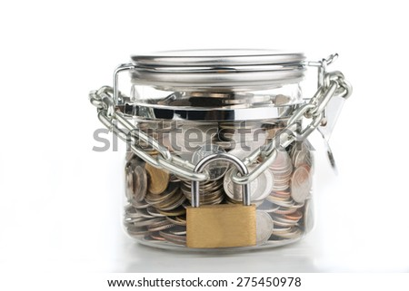 Save money, lock your budget for the future. - stock photo