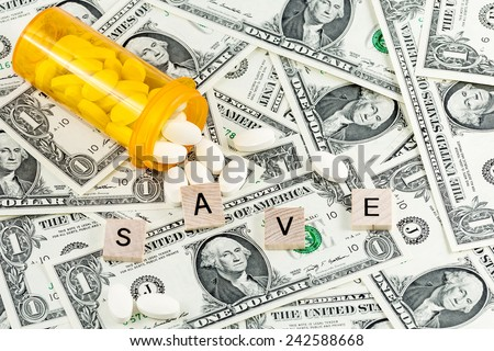 Save money on generic drugs or save money with Flexible Spending Account FSA or health savings account HSA or a health reimbursement account HRA - stock photo
