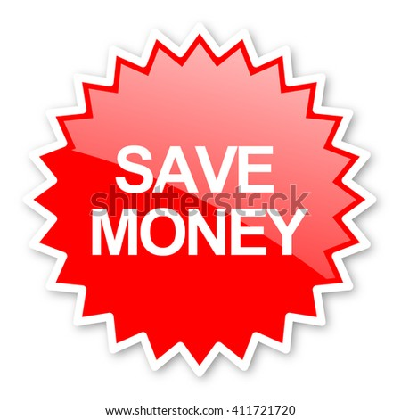 save money red tag, sticker, label, star, stamp, banner, advertising, badge, emblem, web icon - stock photo