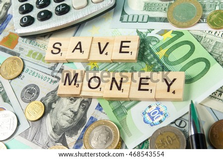 Save money. Succeed business success be a winner in business. Counting losses and profit analyzing financial statistics, green money background with copy space for ad text.