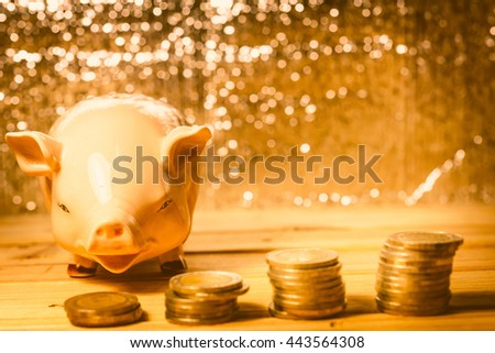 Save money with stack money coin for growing your business. - Vintage tone. - stock photo