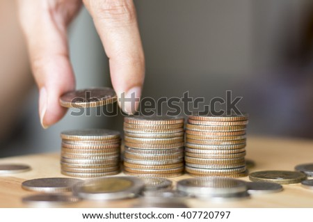 Save money with stack money coin on white, Save money trend, Save money concep
