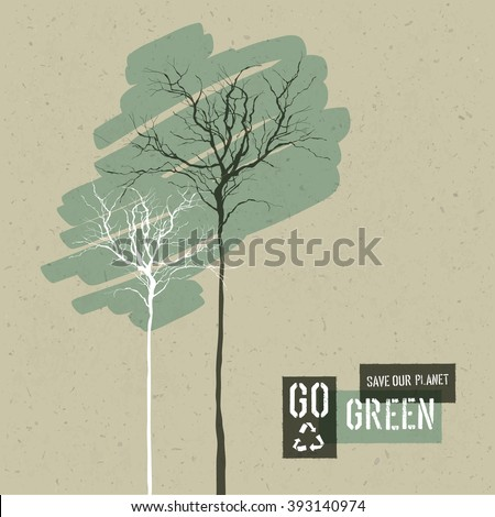 Save Nature Concept Illustration. Trees on Cardboard Realistic Background. Go Green Headline with Reuse Symbol. . Raster version - stock photo