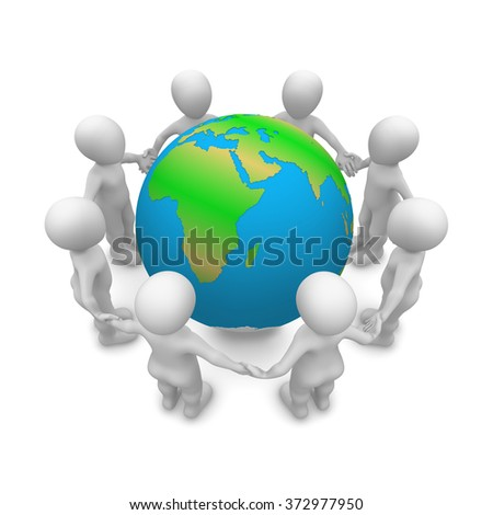 Save Our Planet! 3d white men people around the planet. Peace & ecology concept.