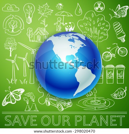 Save Our Planet, Earth and Ecology doodle icons.  - stock photo