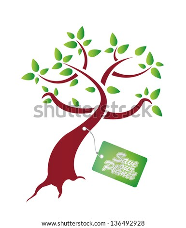 Save our plantet tag on tree. illustration design over a white background - stock photo