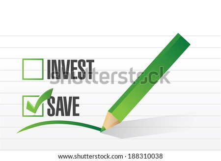 save over investing. illustration design over a white background