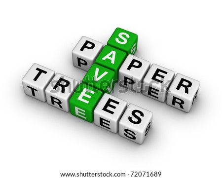 Save Paper, Save Trees crossword - stock photo