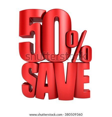 Save 50 percent 3d letters render on a white background - stock photo