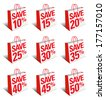 Save Shopping Bag Icon with Percentage Discount, Reduced Price Symbol - SET ONE  - Raster Version - stock
