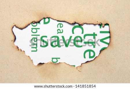 Save text on paper hole - stock photo