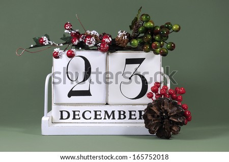 Save the Date calendar with winter theme colors, fruit and flowers, for birthdays, special occasions, holidays, weddings, website events, or Christmas Advent calendar days, for December 23 - stock photo