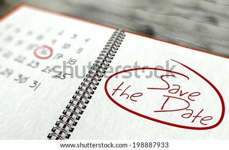 Save the date important day calendar concept