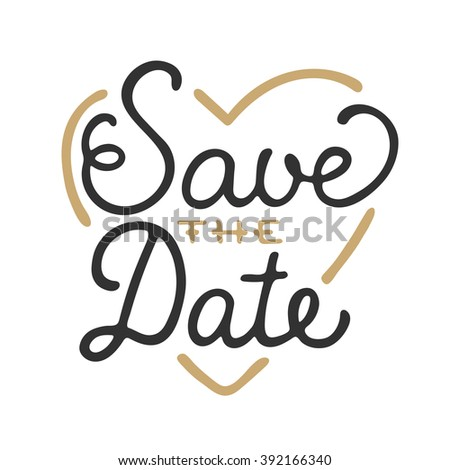 Save the Date in heart shape invite card template with modern calligraphy isolated on white background. Handwritten lettering. Hand drawn design elements. - stock photo