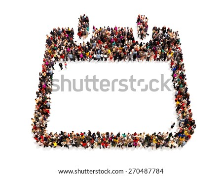 Save the date, Large group of people in the shape of a calendar with room for text or copy space on a white isolated background. - stock photo