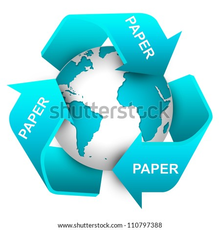 Save The Earth Concept Present By Blue Recycle Sign For Paper Waste Around The Earth Isolate on White Background