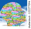 Save The Earth Concept Present By Colorful Recycle Label in Head in Blue Sky Background - stock photo