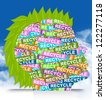 Save The Earth Concept Present By Colorful Recycle Label in Head With Leaf Hair in Blue Sky Background - stock photo