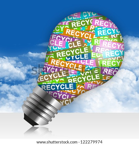 Save The Earth Concept Present By Colorful Recycle Label in Light Bulb in Blue Sky Background - stock photo