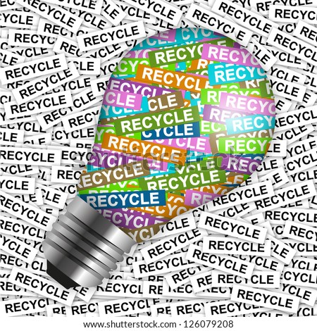 Save The Earth Concept Present By Colorful Recycle Label in Light Bulb in Recycle Label Background - stock photo