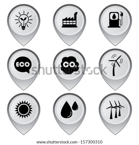 Save The Earth, Conservation, Natural or Ecology Concept Present By Set Of Gray Glossy Style Map Pointer With Nature or Ecology Sign Isolated on White Background  - stock photo