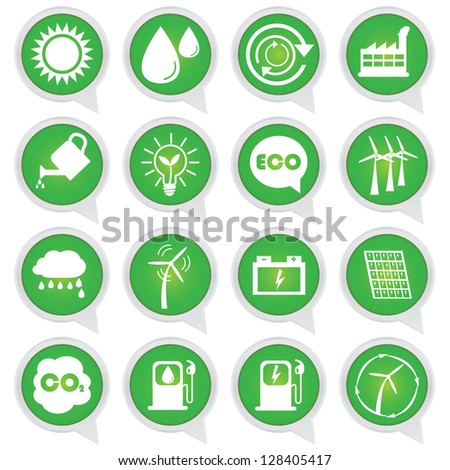 Save The Earth or Ecology Concept Present By Circle Green Ecology Icons Set Isolated on White Background