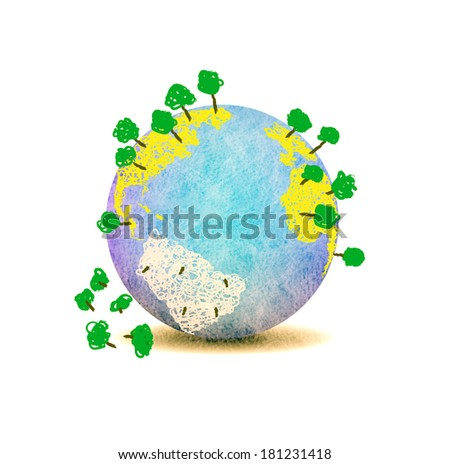 Save the earth.Planet earth with trees and stump on white background. - stock photo