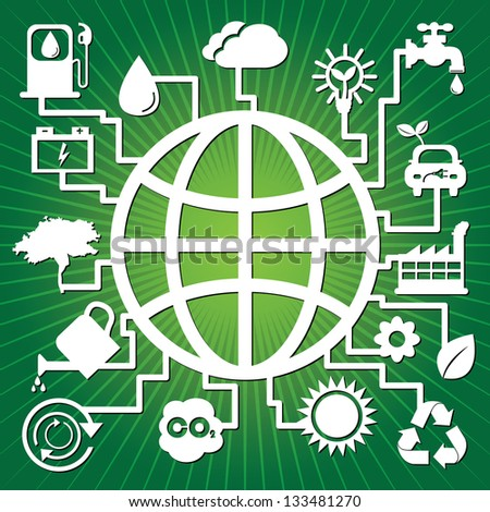 Save The Earth, Stop Global Warming or Recycle Concept Present By The Earth With Group of Ecology or Nature Icon in Green Shiny Background - stock photo