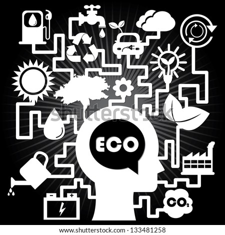 Save The Earth, Stop Global Warming or Recycle Concept Present By The White Human Head With Group of Ecology or Nature Icon in Black Shiny Background - stock photo