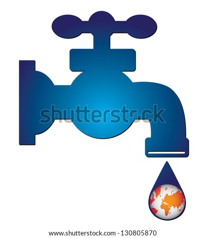 Save Water Concept Present By Blue Water Tap and Water Droplet With The Orange Planet Earth Inside Isolated on White Background - stock photo