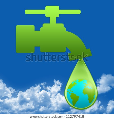 Save Water Concept Present By Green Faucet and Water Drop With The Earth Inside in Blue Sky Background - stock photo