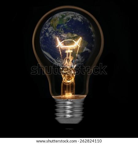 Save world concept, symbolizing renewable energy, Element of this image furnished by NASA - stock photo