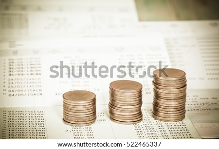 Saving account from bank with coin for financial and loan