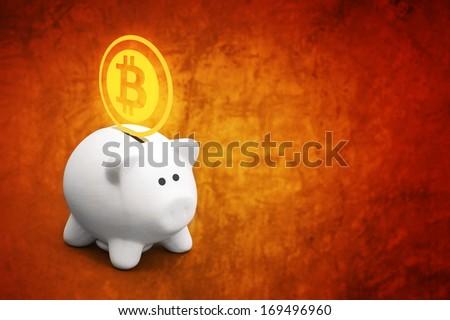 Saving Bitcoins in piggy coin bank, conceptual image for virtual currency. - stock photo