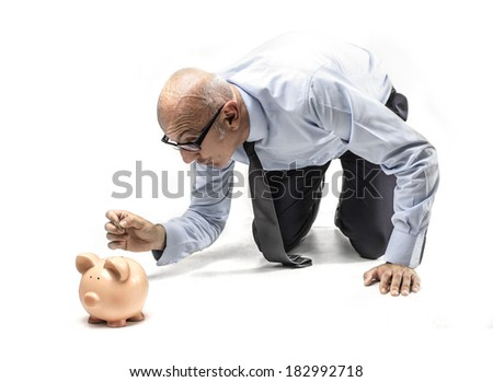 saving businessman - stock photo