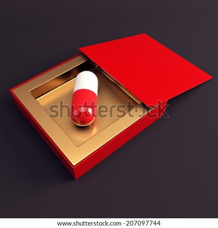 Saving capsule in open box on dark background. 3d render illustration - stock photo