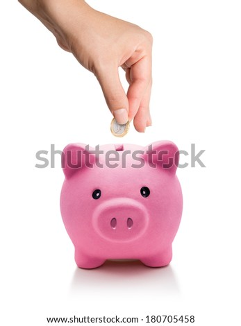 saving concept - euro coin in piggy bank