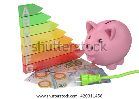 saving energy consumption concept, 3D rendering - stock photo