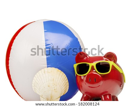 Saving for summer vacation holidays, piggybank,beach ball sunglasses and shell - stock photo