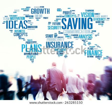 Saving Insurance Plans Ideas Finance Growth Analysis Concept - stock photo