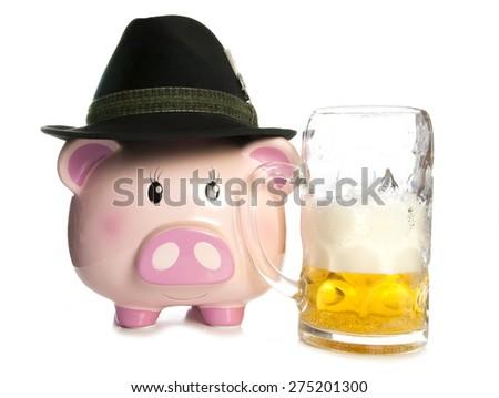 saving money at a beer festival piggy bank cutout - stock photo