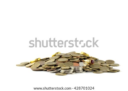 Saving money concept, money coin pile growing business.isolate on white background.