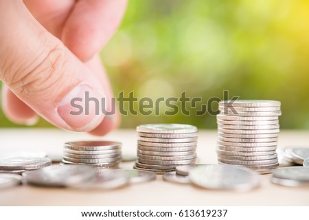 Saving money concept, money coin stack growing business