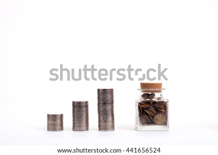 Saving money concept, Money jar and coins on white background - stock photo