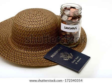 saving money for international traveling or vacation - stock photo