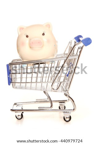 Saving money on your shopping cutout - stock photo