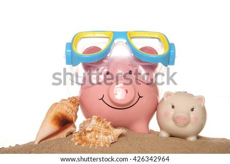 Saving money on your summer holidays cutout - stock photo