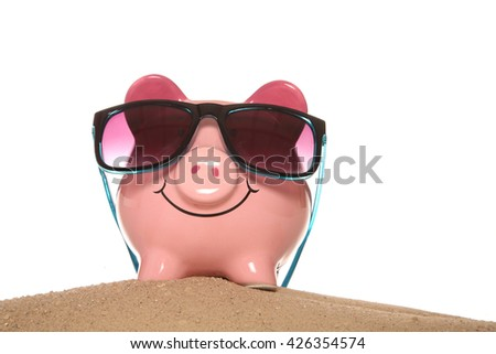 Saving money on your summer holidays cutout - stock photo
