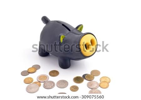 saving money, piggy bank isolated on white - stock photo